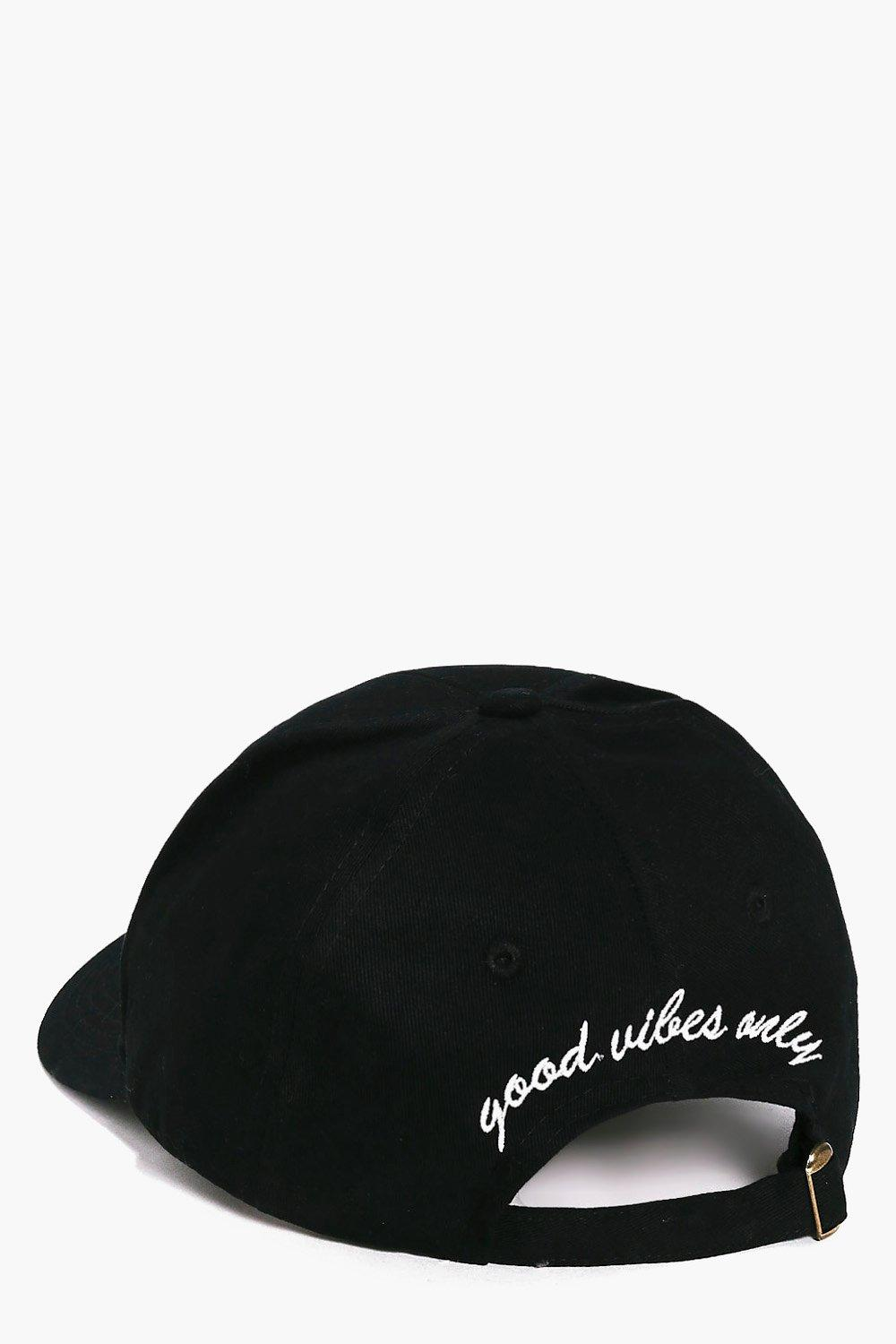 Good Vibes Only Slogan Baseball Cap - black - Fran