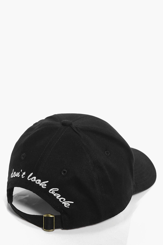 Don`t Look Back Slogan Baseball Cap - black - Kayl