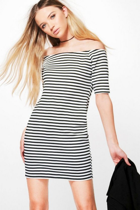 Harriet Stripe Off Shoulder Bodycon Dress