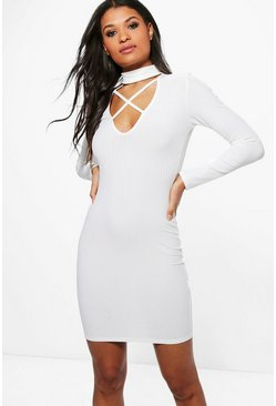Jade Rib Choker Strap Detail Bodycon Dress