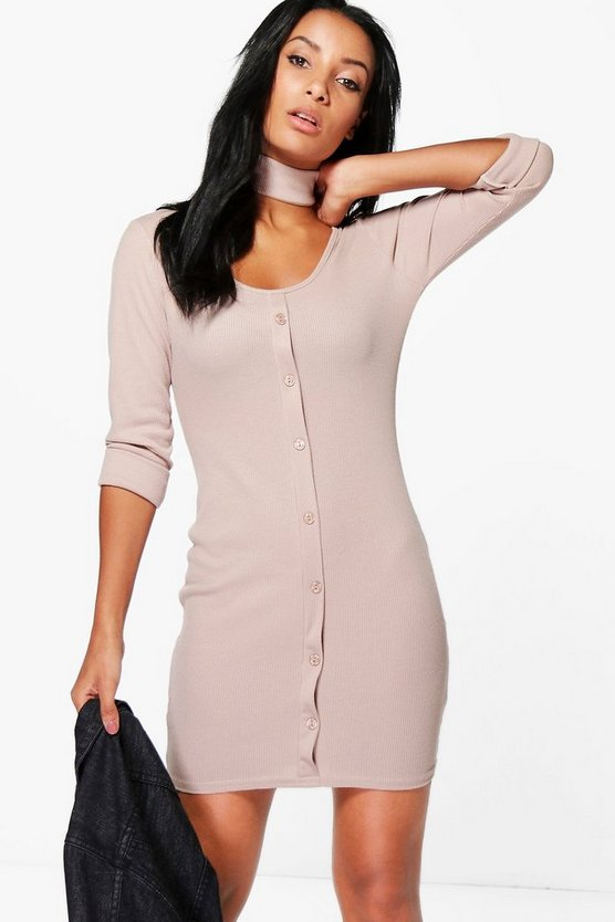 Abbey Rib Button Choker Bodycon Dress
