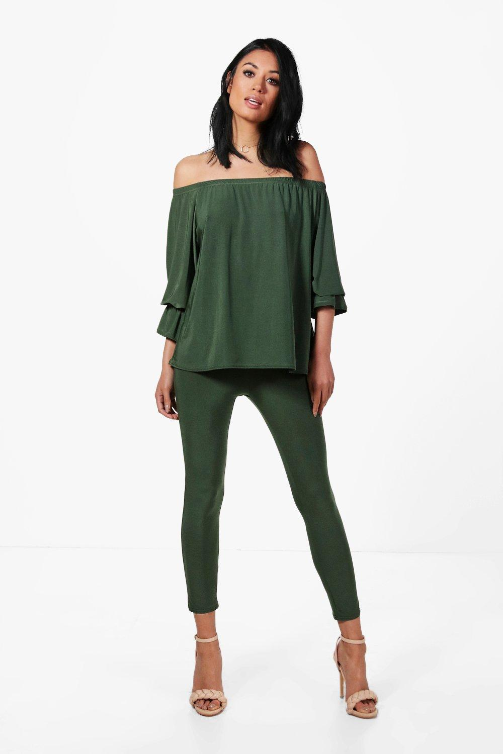 Olivia Off The Shoulder Slinky Trouser Co-ord