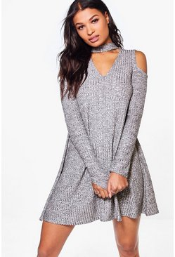 Eloise Cold Shoulder Marl Knit Swing Dress