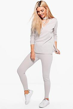 Emily Strappy Choker Jumper & Leggings Lounge Set