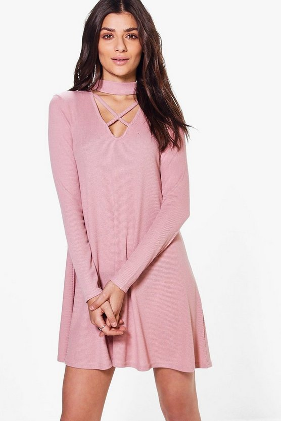 Abigail Lace Up Rib Knit Swing Dress