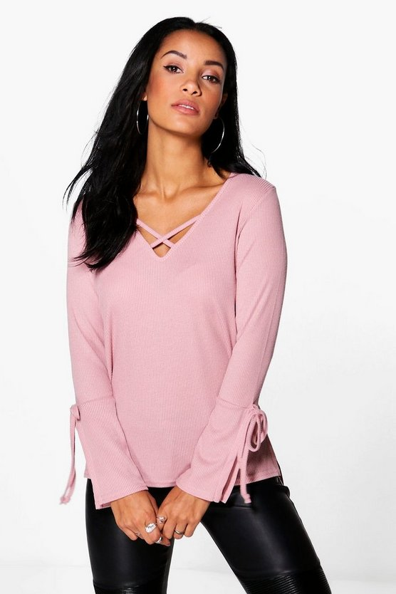 Jasmine Tie Sleeve Detail Rib Knit Jumper