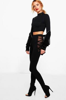 Azalea Lace Up Mesh Insert Leggings