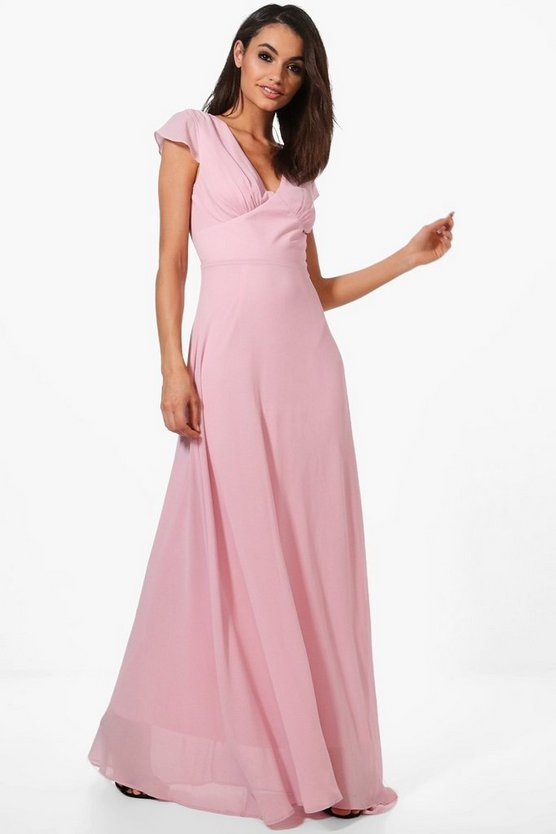 Boutique Ri Chiffon Cap Sleeve Maxi Dress
