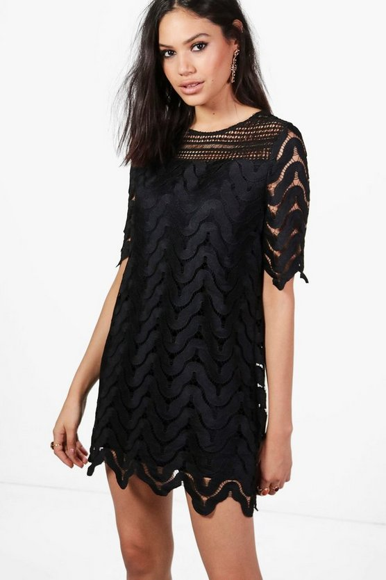 Boutique Jessie Lace Panelled Shift Dress