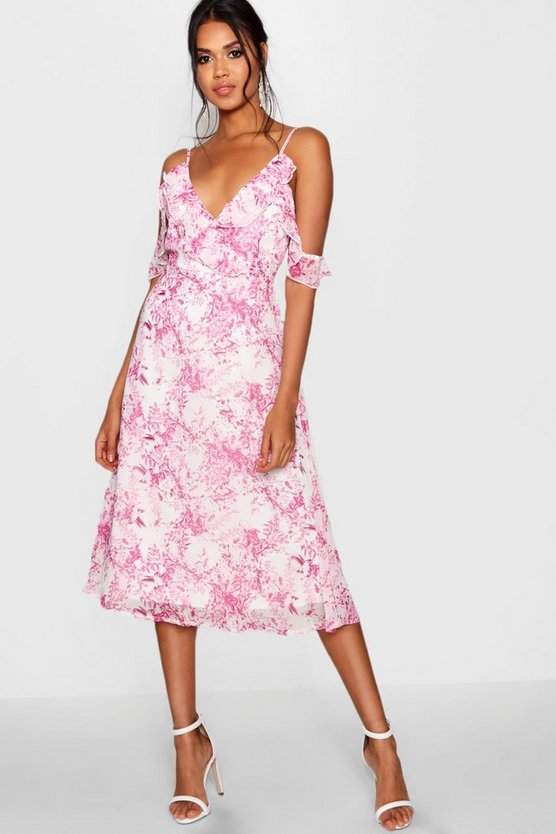 Rita Chiffon Printed Midi Skater Dress