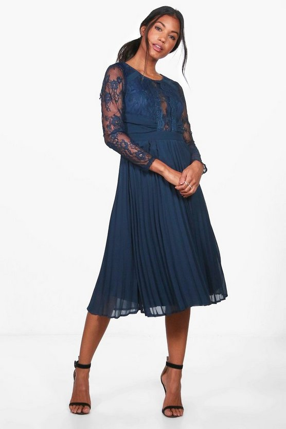 Boutique Hadley Lace Pannelled Midi Dress