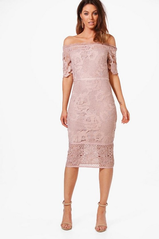 Boutique Off Shoulder Lace Midi Dress