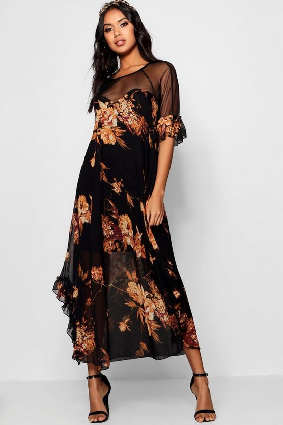 Boutique Floral Ruffle Maxi Dress