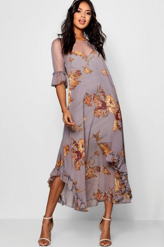 Boutique Fiona Floral Ruffle Maxi Dress