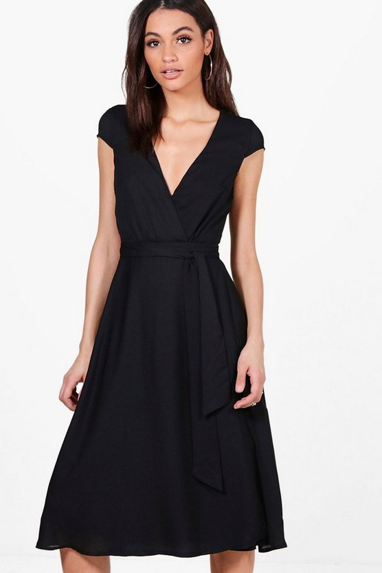 Ashton Cap Sleeve Wrap Midi Dress