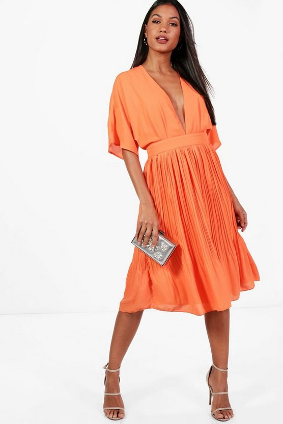 Jeanie Kimono Pleated Skirt Midi Dress