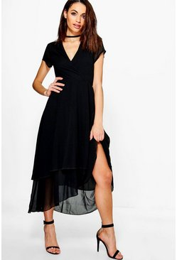 Gracie Chiffon Cap Sleeve Ruffle Midi Dress
