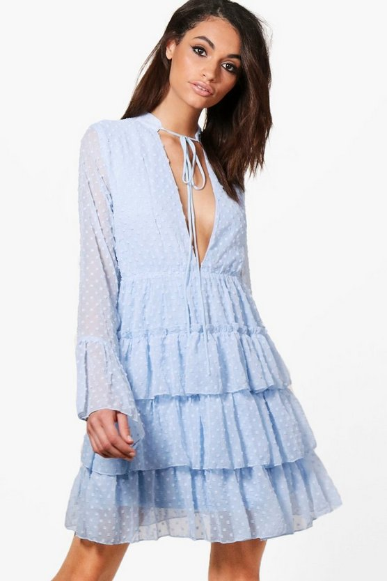 Ruffle Tiered Spot Skater Dress