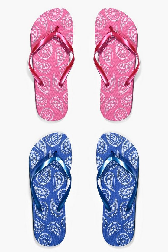 Imogen Paisley Print Two Pack Flip Flop