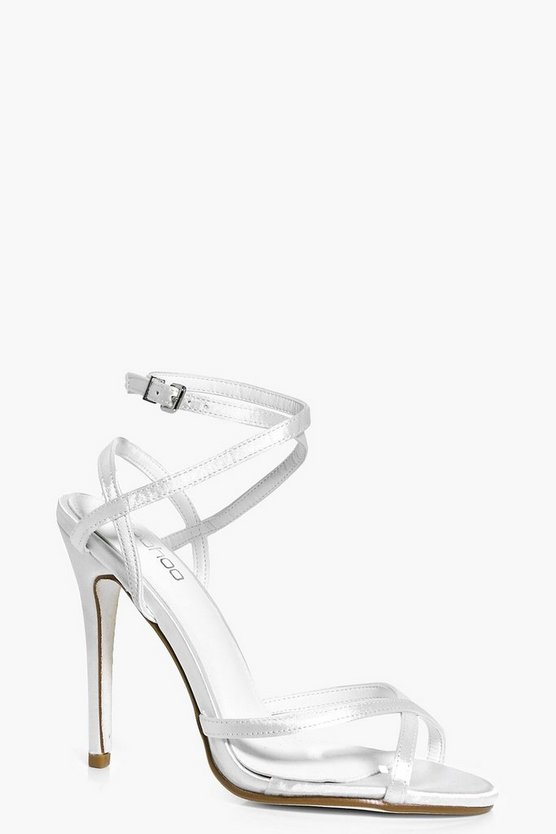 Ivy Bridal Clear Panel Peeptoe Glitter Sole Strappy