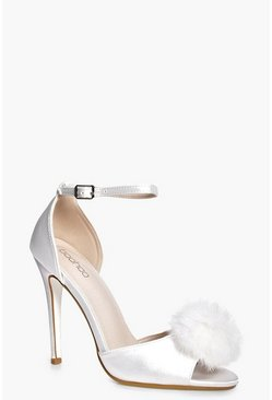 Amber Bridal Satin Peeptoe Pom Trim Court