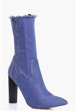 Vanessa Denim Raw Edge Sock Boot
