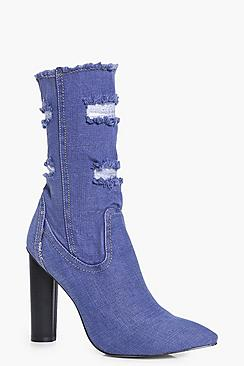 Martha Denim Ripped Sock Boot