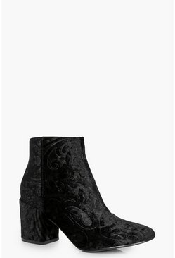 Nina Brocade Block Heel Ankle Boot