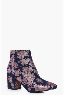 Leila Denim Floral Block Heel Ankle Boot
