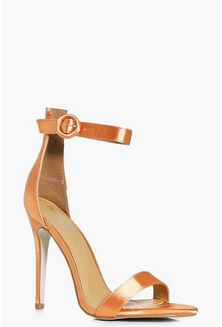 Lois Satin Two Part Round Buckle Sandal