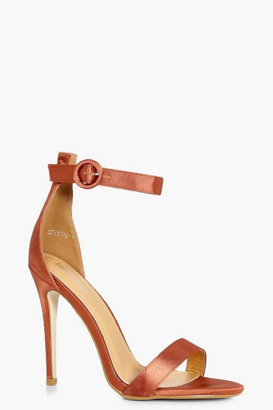 Frankie Satin Round Buckle Two Part Sandals