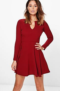 Rebecca Long Sleeve Skater Dress