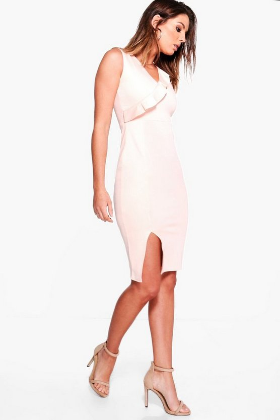 Emily Frill Detail Bodycon Midi Dress