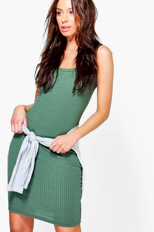 Strappy Rib Knit Mini Dress  khaki