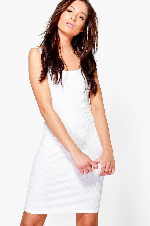 Strappy Rib Knit Mini Dress  white