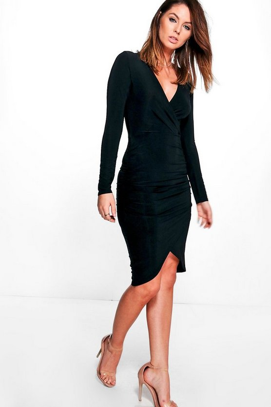 Di Slinky Long Sleeved Ruched Bodycon Dress