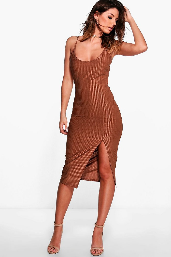 Aine Textured Slinky Strappy Split Midi Dress