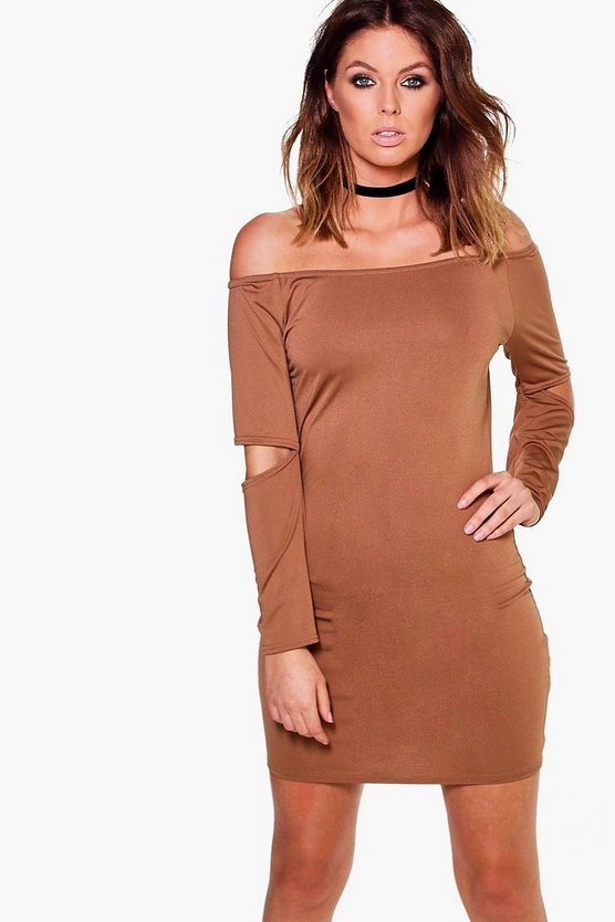 Em Slinky Off Shoulder Slit Sleeve Bodycon Dress