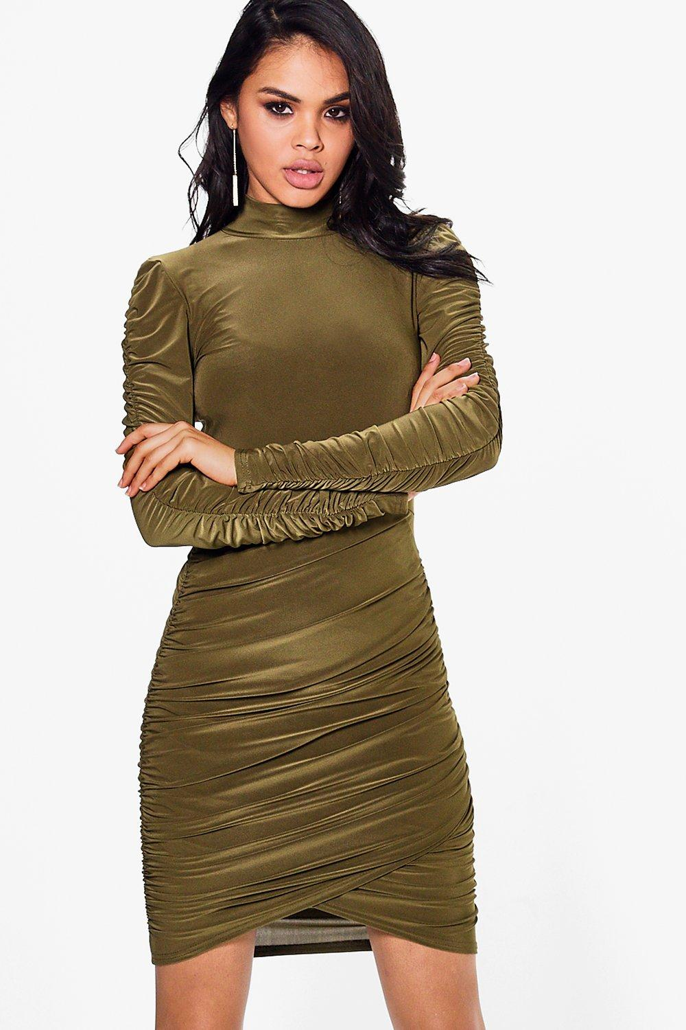 Rudy Slinky Ruched High Neck Bodycon Dress