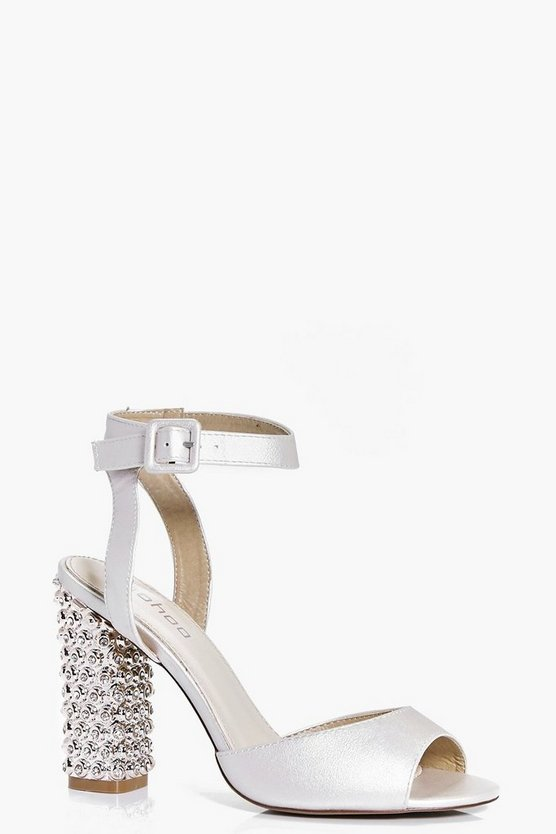 Martha Bridal Embellished Heel Peeptoe Sandals