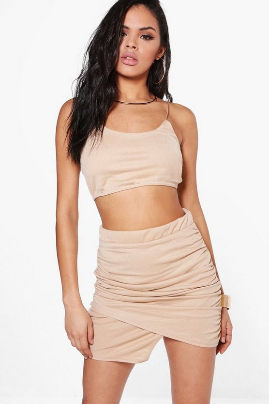 Dory Wrap Plunge Mini Skirt & Bralet Co-Ord