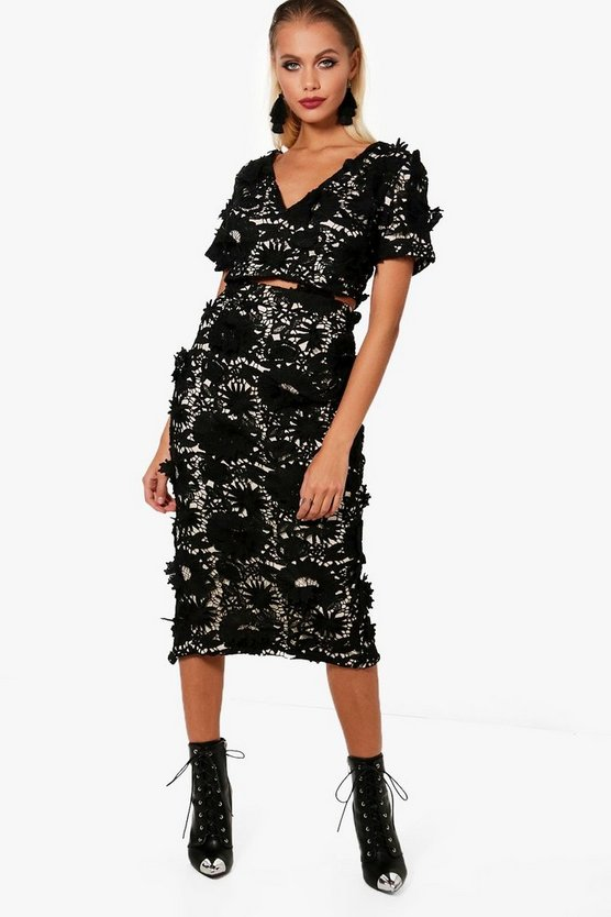Erica Floral Applique Midi Skirt Co-Ord