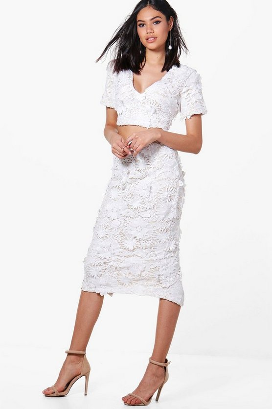 Floral Applique Midi Skirt Co-Ord