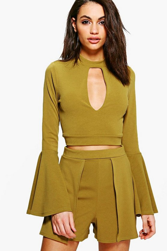 Felicity Flute Sleeve Crop & Shorts Co-ord