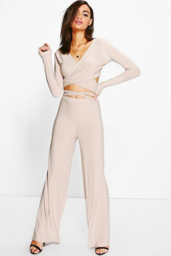 Angelina Tie Waist Crop & Wide Leg Trouser Co-ord