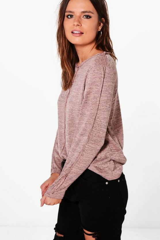 Lydia Raw Edge Long Sleeve Top