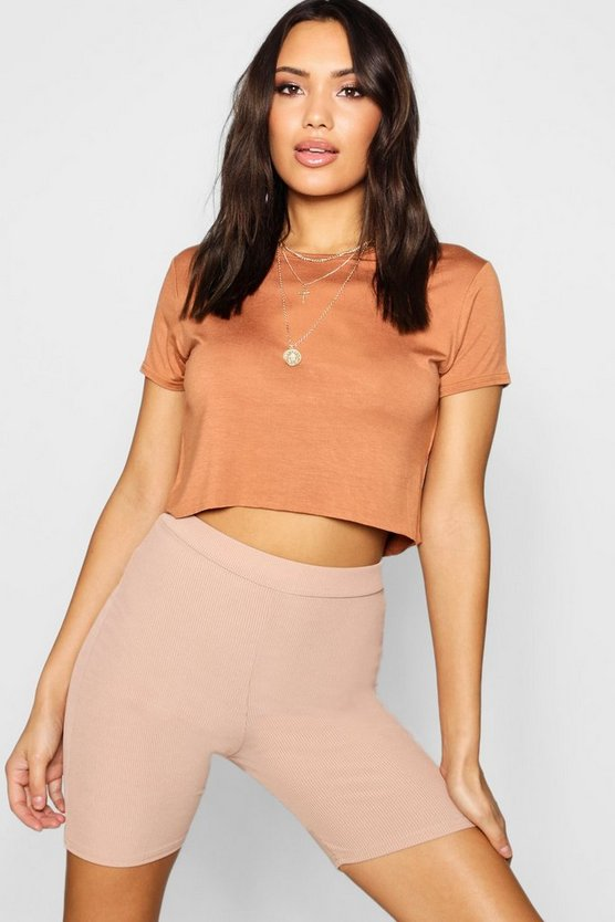 Nora Oversized Basic Short Sleeve Crop Top
