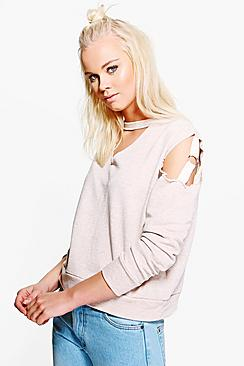 Tia Ring Detail Cold Shoulder Choker Sweater