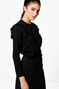 Naomi Asymmetric Ruffle Long Sleeve Top