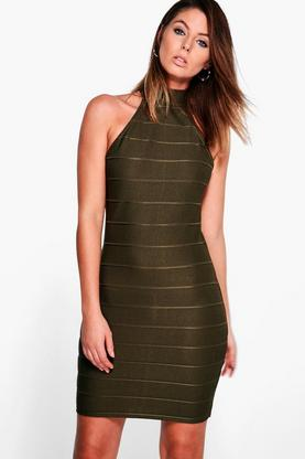 Kasey High Neck Bandage Bodycon Dress